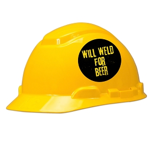 Will Weld For Beer Hard Hat Helmet Sticker